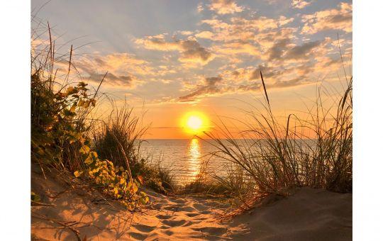 Sunset on Lake Michigan shoreline